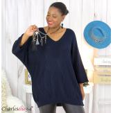 Pull long laine femme grandes tailles ROMANE bleu marine Pull femme grande taille