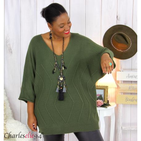 Pull long laine femme grandes tailles ROMANE kaki Pull femme grande taille