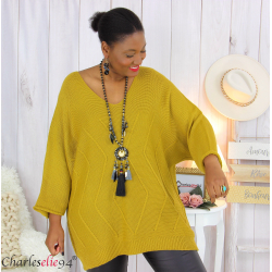 Pull long laine femme grandes tailles ROMANE moutarde Pull femme grande taille