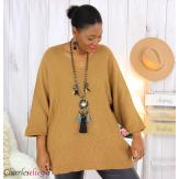 Pull long laine femme grandes tailles ROMANE camel Pull femme grande taille