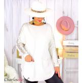 Pull femme grandes tailles dentelle strass poches DIDO beige Pull femme grande taille