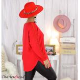 Pull femme grandes tailles dentelle strass poches DIDO rouge Pull femme grande taille