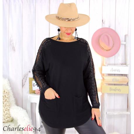 Pull femme grandes tailles dentelle strass poches DIDO noir Pull femme grande taille