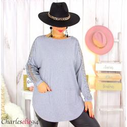 Pull femme grandes tailles dentelle strass poches DIDO gris Pull femme grande taille