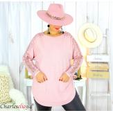 Pull femme grandes tailles dentelle strass poches DIDO rose Pull femme grande taille