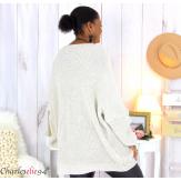 Pull long col V beige grosse maille laine DARIO Pull femme grande taille