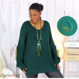 Pull long col V vert grosse maille laine DARIO Pull femme grande taille