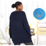 Pull long col V bleu marine grosse maille laine DARIO Pull femme grande taille