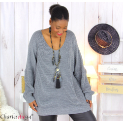 Pull long col V gris grosse maille laine DARIO Pull femme grande taille
