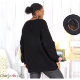 Pull long col V noir grosse maille laine DARIO Pull femme grande taille