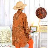 Chemise longue léopard brique grandes tailles TIMOR Chemise femme grande taille