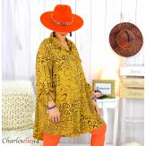 Chemise longue léopard moutarde grandes tailles TIMOR Chemise femme grande taille