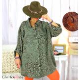 Chemise longue léopard kaki grandes tailles TIMOR Chemise femme grande taille