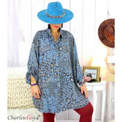 Chemise longue léopard bleu jean grandes tailles TIMOR Chemise femme grande taille