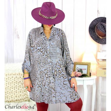 Chemise longue léopard grise grandes tailles TIMOR Chemise femme grande taille