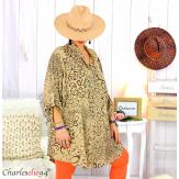 Chemise longue léopard camel grandes tailles TIMOR Chemise femme grande taille