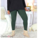 Legging polaire kaki stretch ventre plat grande taille DINO Legging grande taille