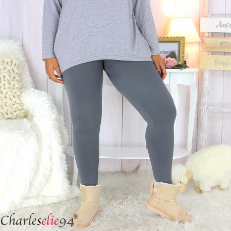 Legging polaire gris ventre plat grande taille DINO Legging grande taille