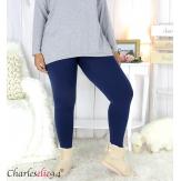 Legging polaire bleu ventre plat grande taille DINO Legging grande taille