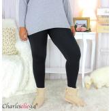Legging polaire noir ventre plat grande taille DINO Legging grande taille