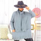 Ensemble pull long écharpe grandes tailles gris EDENA Pull femme grande taille