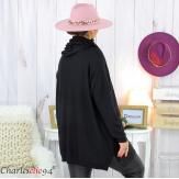 Ensemble pull long écharpe grandes tailles noir EDENA Pull femme grande taille