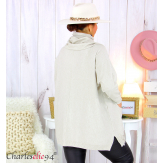 Ensemble pull long écharpe grandes tailles beige EDENA Pull femme grande taille