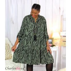 Robe chemise longue imprimée zébrée ALYCE kaki Robe grande taille