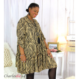 Robe chemise longue imprimée zébrée ALYCE camel Robe grande taille