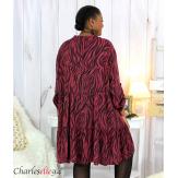 Robe chemise longue imprimée zébrée ALYCE bordeaux Robe grande taille