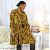 Robe chemise longue imprimée zébrée ALYCE moutarde Robe grande taille