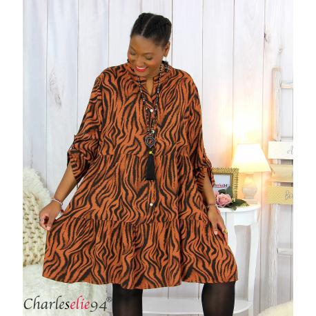 Robe chemise longue imprimée zébrée ALYCE brique Robe grande taille