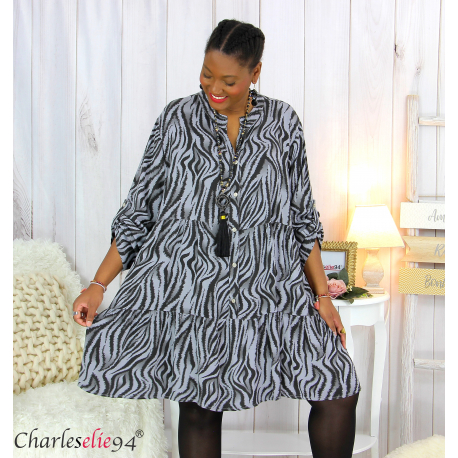 Robe chemise longue imprimée zébrée ALYCE grise Robe grande taille