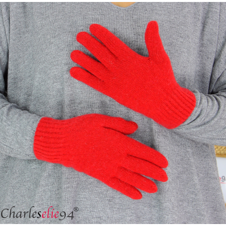 Gants classiques en cachemire made in Italie GT1 rouge Gants femme