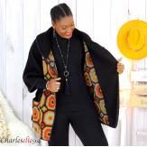 Cape veste laine bouillie grande taille noire moutarde LYVIA Cape laine femme