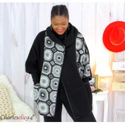 Cape veste laine bouillie grande taille noire gris LYVIA Cape laine femme