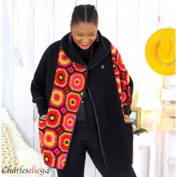 Cape veste laine bouillie grande taille noire fushia LYVIA Cape laine femme