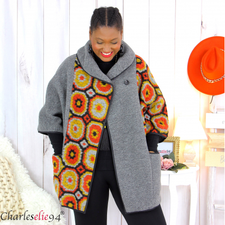 Cape veste laine bouillie grande taille gris moutarde LYVIA Cape laine femme