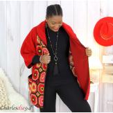 Cape veste laine bouillie grande taille rouge fushia LYVIA Cape laine femme