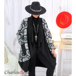 Manteau laine bouillie noir gris grandes tailles STEVE Manteau femme grande taille