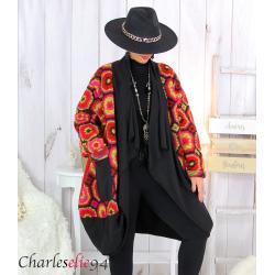 Manteau laine bouillie noir rouge grandes tailles STEVE Manteau femme grande taille