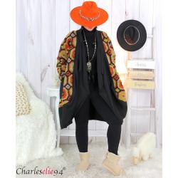 Manteau laine bouillie noir moutarde grandes tailles STEVE Manteau femme grande taille