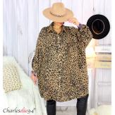Chemise longue femme grandes tailles léopard GUENOLE Chemise femme grande taille