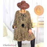 Tunique longue évasée grandes tailles léopard GEMMA Tunique femme grande taille