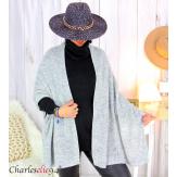 Echarpe étole hiver laine alpaga torsadée grise FUNY Écharpe laine femme