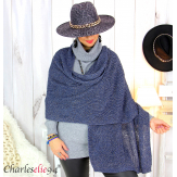 Echarpe étole hiver laine alpaga torsadée bleu marine FUNY Écharpe laine femme