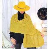 Echarpe étole hiver laine alpaga torsadée moutarde FUNY Écharpe laine femme