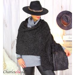 Echarpe étole hiver laine alpaga torsadée noire FUNY Écharpe laine femme