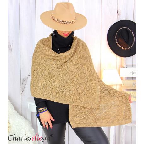 Echarpe étole hiver laine alpaga torsadée camel FUNY Écharpe laine femme