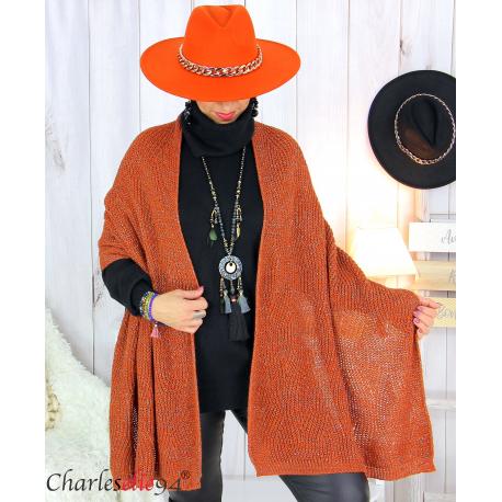 Echarpe étole hiver laine alpaga torsadée brique FUNY Écharpe laine femme